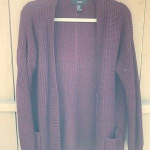 Forever 21 Burgundy Knit Cardigan